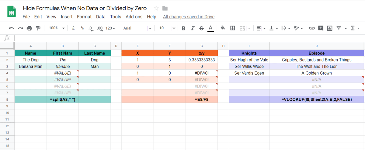 Hide formula on empty rows in Google sheets