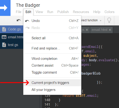 Google App Script Editor Current Project's Triggers