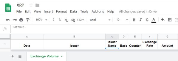 XRP Google Sheet Setup