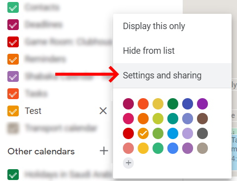 Google Calendar Setting and Sharing option
