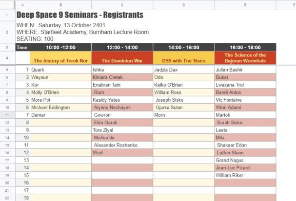 Google Sheets Seat booking names for each seminar