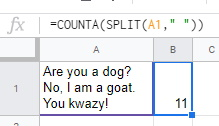 COUNTA SPLIT to get words in a paragraph Google Sheets