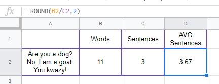 ROUND Avg sentences short Google Sheets