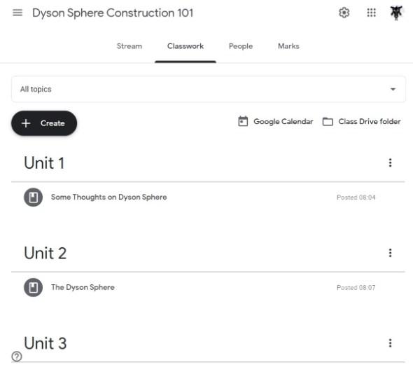 Google Classroom Dyson Sphere Construction 101 coursework
