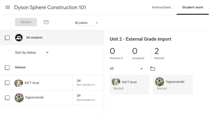 Google Classroom Uploaded Results of Assignment