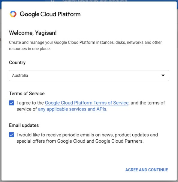 Google Cloud Platform TOS
