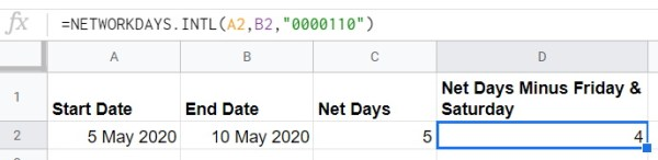 Google Sheets NETWORKDAYS INTL weekend example string