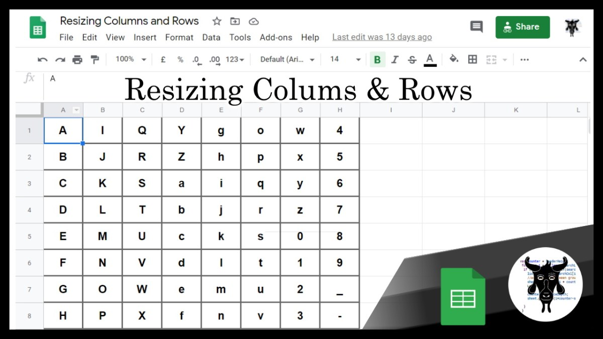 Google Sheets Shorts: Change the Column and Row Size (0)