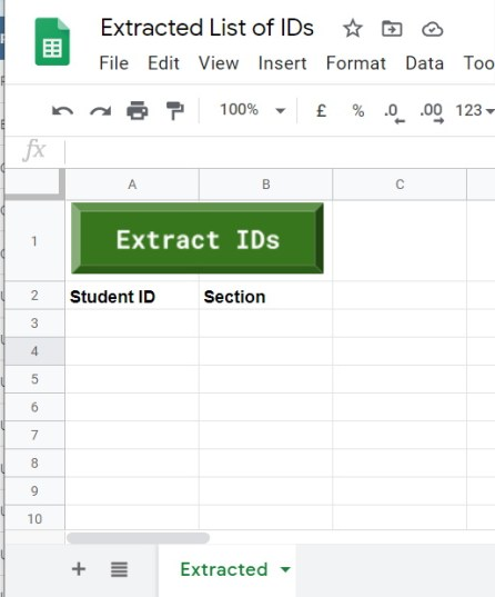 Google Sheet Setup to extra usernames from PDF files
