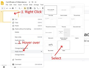 Google Slides change layout to blank