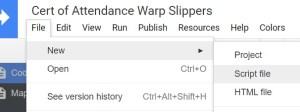 New Script file for Google Apps Script Certificate code