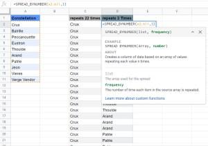 SPREAD_BYNUMER custom funciton Google Sheets