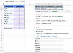 SPREAD_BYVALUE custom funciton Google Sheets