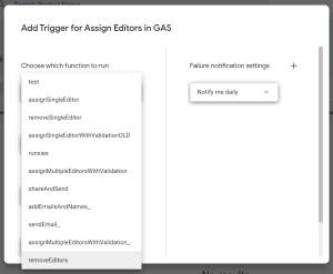 Add GAS trigger removeEditors