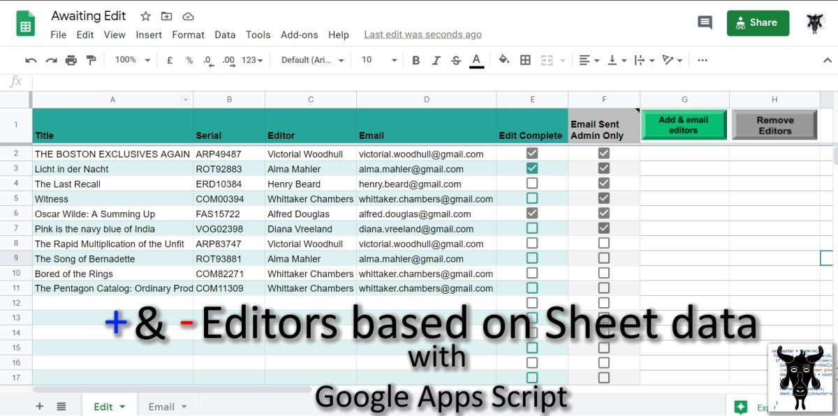 Google Apps Script: How to Add and Remove Editors to a Google Sheet based on Sheet Data