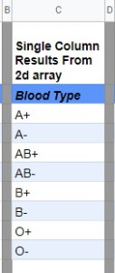 list of blood types in Google Sheets
