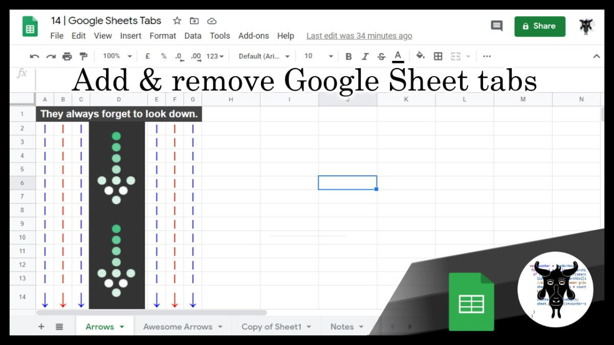 Google Sheets Beginners – Creating Sheet Tabs (14)