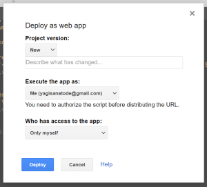 Deploy as webApp first time Google Apps Script