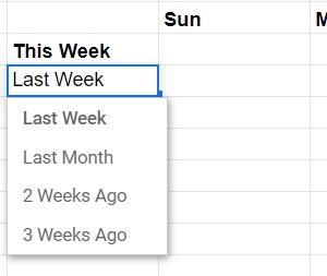 Google Sheets dropdown selection menu