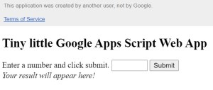 My google apps script web app with warning bar
