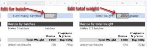 Google Sheets Recipe Template Edit Batch or Weight