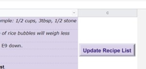 Google Sheets Recipe Template Update Recipe List button