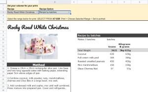 Google Sheets Recipe Template print view