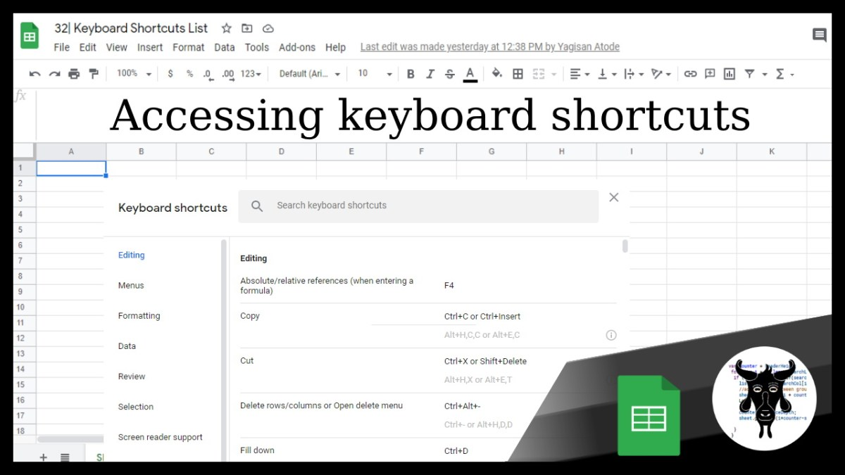 Accessing the keyboard shortcuts in Google Sheets