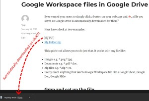 Automatic download link for non-Google Workspace files in Google Drive