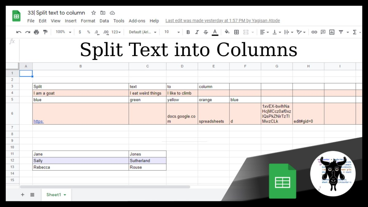 Google Sheets Beginners: Split text to columns (33)