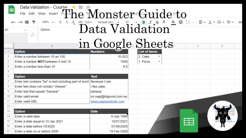 monster guide to data validation in Google Sheets v2