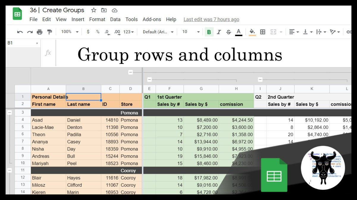 36 - Grouping Columns and Rows