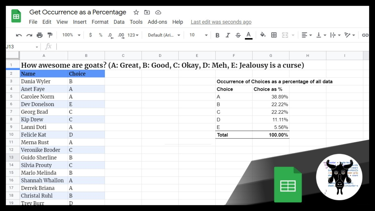 Get the Occurrence of a Value in a Range as a Percentage in Google Sheets
