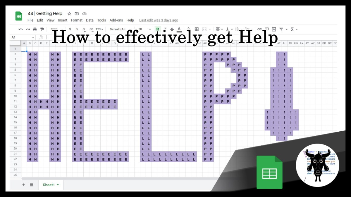 Google Sheets Beginners: Getting Help (44)