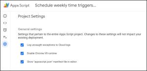 Google Apps Script manifest file