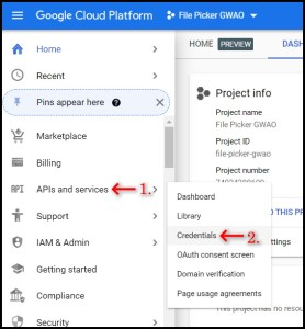 Apps Script Project Settings for GWAO Create API Key in Google Cloud Console 1