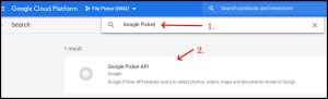 Apps Script Project Settings for GWAO GCP API Library Google Picker Search