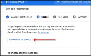 Apps Script Project Settings for GWAO GCP Scope adding
