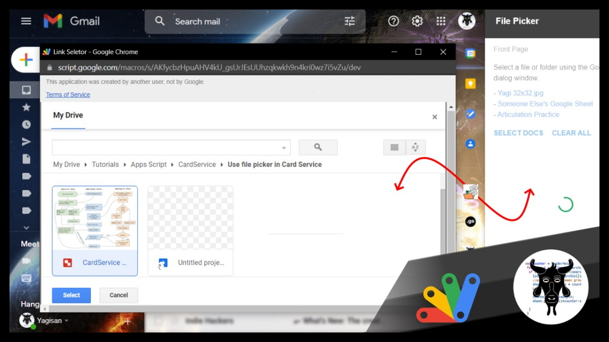 Create a Google Workspace Add-on file picker card with CardService that opens a Google Picker in an overlay window – Google Apps Script
