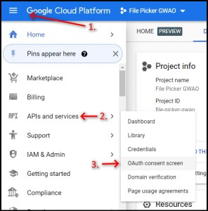 Google Workspace Add-on File Picker GCP nav to OAuth Consent Screen