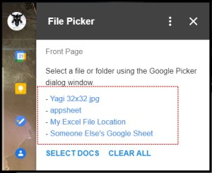 Google Workspace Add-on File Picker Homepage Card with selections