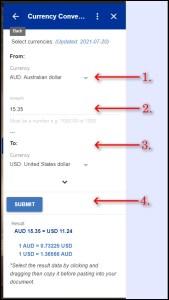 Currency Converter Google Workspace Addon Basic Use