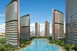 صورة توضح الأبراج السكنية مع البحيرة