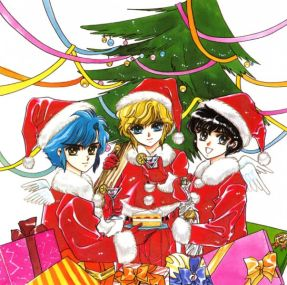 Santa boys, Imonoyama Nokoru (妹之山 残), Takamura Suoh (鷹村 蘇芳) & Ijyuin Akira (伊集院 玲). (Clamp School Detectives)