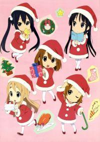 Chibi Santa girls, Hirasawa Yui (平沢 唯), Akiyama Mio (秋山 澪), Tainaka Ritsu (田井中 律), Kotobuki Tsumugi (琴吹 紬) & Nakano Azusa (中野 梓). (K-ON!!)