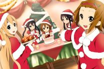 Santa girls, Hirasawa Yui (平沢 唯), Akiyama Mio (秋山 澪), Tainaka Ritsu (田井中 律), Kotobuki Tsumugi (琴吹 紬) & Nakano Azusa (中野 梓) are enjoying Christmas party. (K-ON!!)