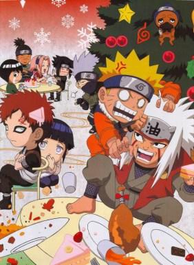 Uzumaki Naruto (うずまき ナルト) Uchiha Sasuke (うちは サスケ) Haruno Sakura (春野 サクラ) Hyuga Hinata (日向 ヒナタ) Gaara (我愛羅) Hatake Kakashi (はたけ カカシ) Jiraiya (自来也) Rock Lee (ロック・リー) Nara Shikamaru (奈良 シカマル) in Christmas party.