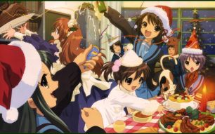 Suzumiya Haruhi (涼宮ハルヒ), Kyon (キョン), Nagato Yuki (長門有希), Asahina Mikuru (朝比奈みくる), Koizumi Itsuki (古泉一樹), Tsuruya (鶴屋) & Kyon's sister are enjoying Christmas party in SOS club room.