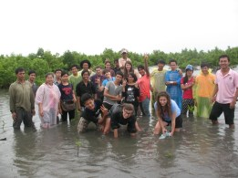 Youth exchange program and re-planting mangrove trees.
