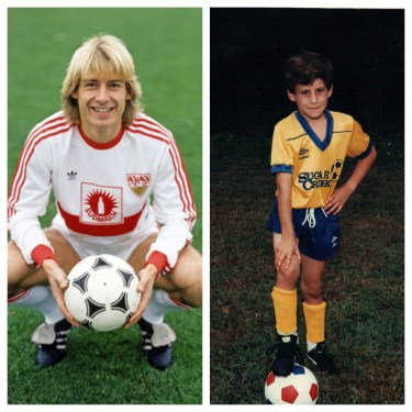 The subject, on the left, and the author, on the right, both peaked from a footballing and fashion sense in the late '80s. [Klinsmann photo credit to Herbert Rudel]